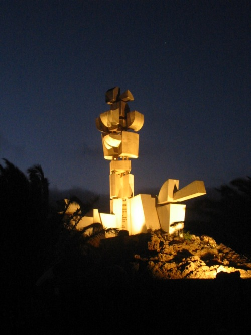 The monument was lit-up at night