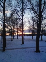 Snowy Sunset in Milton Keynes