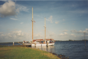 Moored at an island on an inland sea
