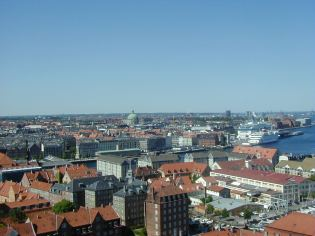 Looking down on Copenhagen from the Spiral Tower