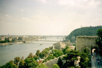 Looking down on the Danube from Buda Castle in Budapest
